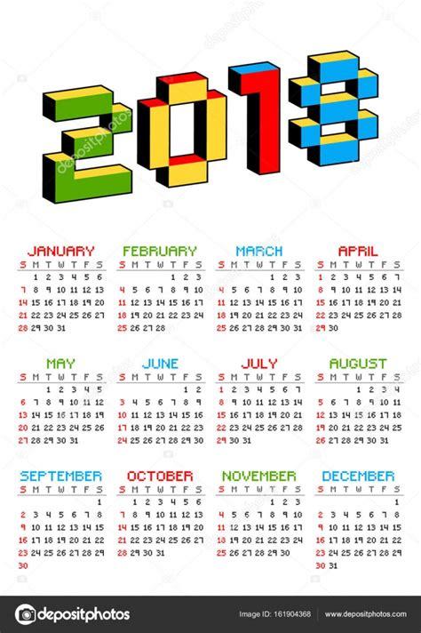 calendario 2018 sobre un fondo blanco en el estilo de los ...
