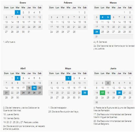 Calendario 2019 con días festivos para Argentina - Calenda ...