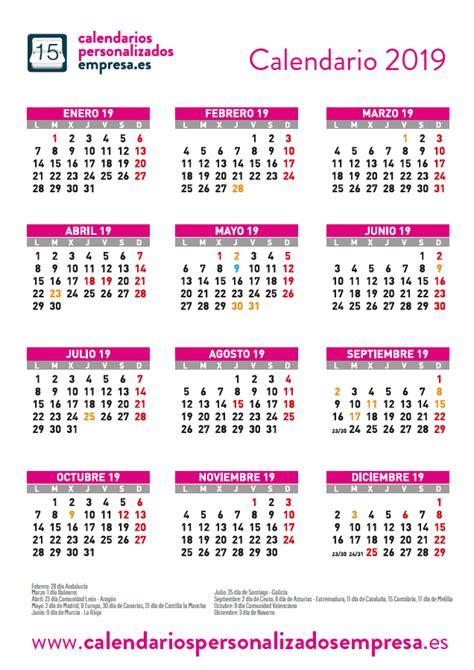 Calendario 2019 con festivos - CPE