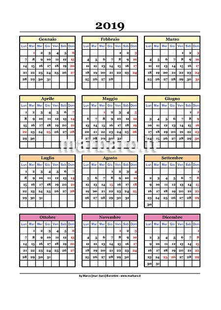Calendario 2019 da stampare: 9 PDF da scaricare gratis
