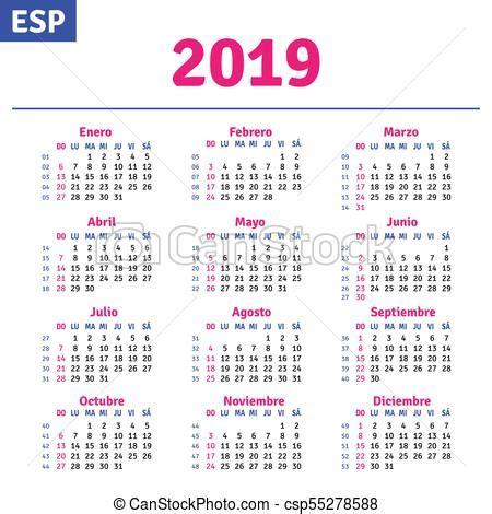 Calendario, 2019, español. Español, vector, 2019 ...