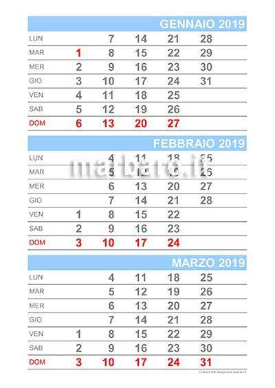 Calendario 2019 mensile da stampare: scarica gratis il PDF