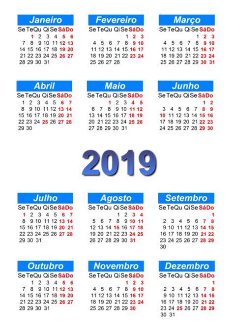 Calendário 2019 para imprimir e download em PDF | abc ...