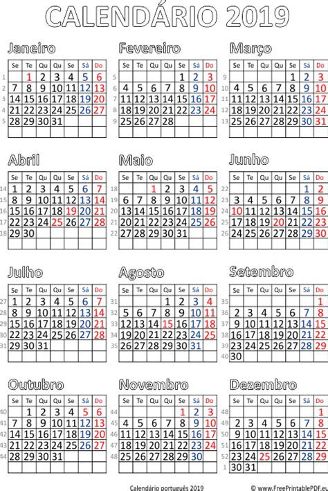 Calendário 2019 Portugal para impressão | PDF para ...