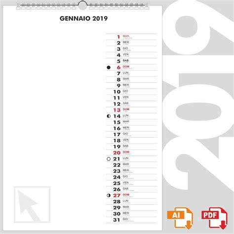 Calendario 2019 – Calendario 2019 PDF in formato vettoriale