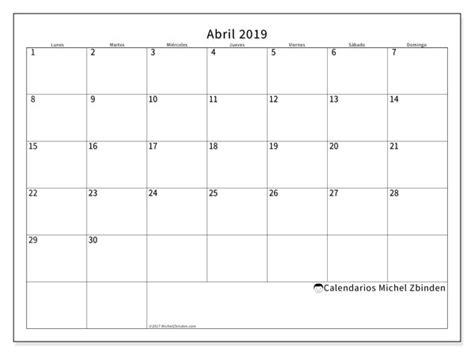 Calendario abril 2019  53LD