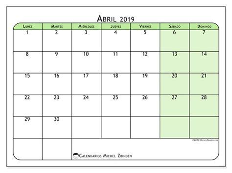 Calendario abril 2019  65LD