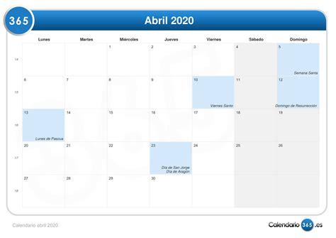 Calendario abril 2020