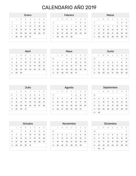 Calendario año 2019
