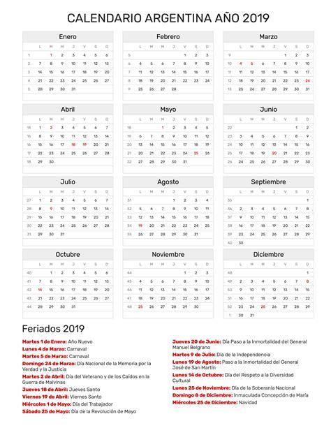 Calendario Argentina Año 2019 | Feriados