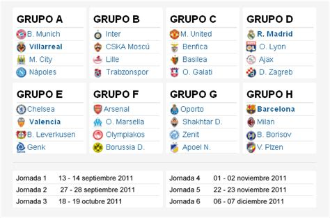 CALENDARIO CHAMPIONS LEAGUE 2011 2012 Fase de grupos ...