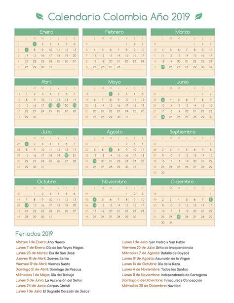 Calendario Colombia Año 2019 | Feriados