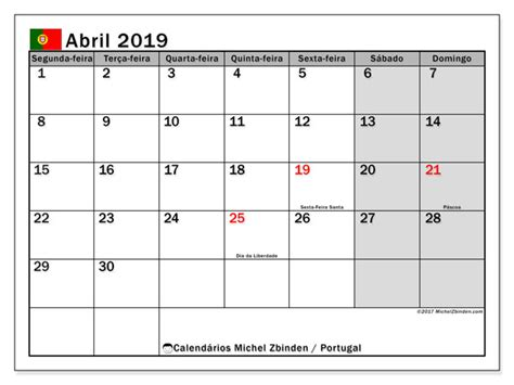 Calendário de abril de 2019, Portugal