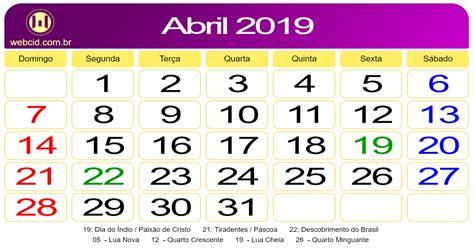 Calendário de Abril de 2019.   webcid