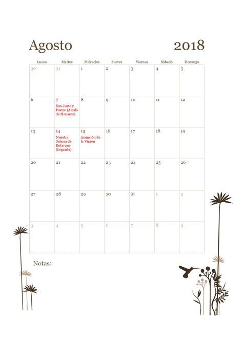 calendario de agosto 2018   Pertamini.co