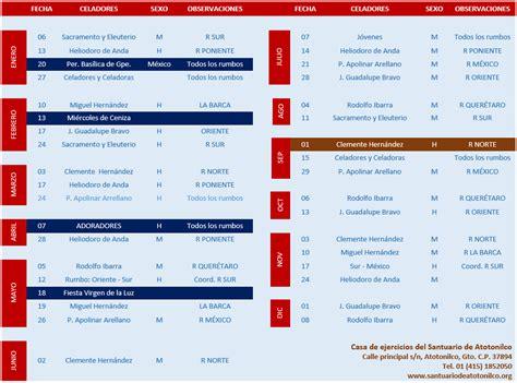 Calendario de ejercicios | Santuario de Atotonilco