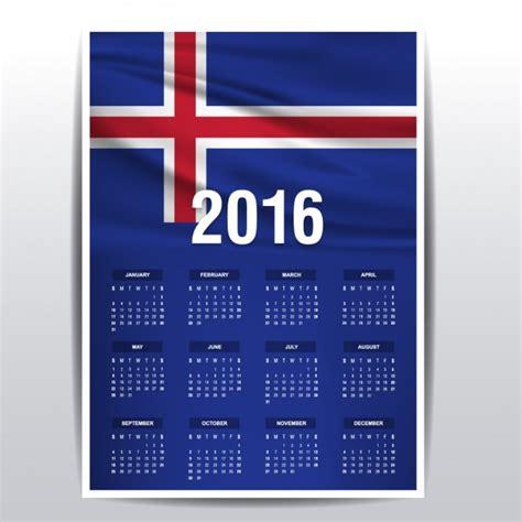 Calendario de Islandia de 2016 | Descargar Vectores gratis