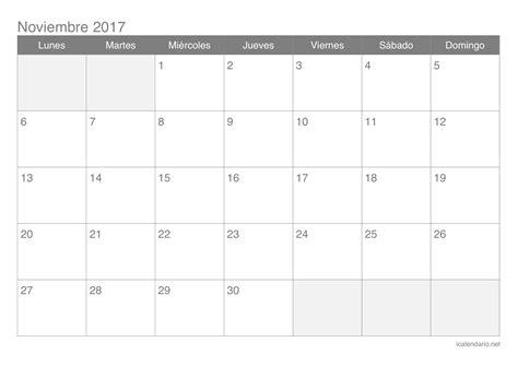 Calendario de noviembre de 2017 | 2019 2018 Calendar ...