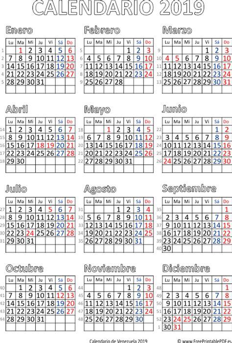 Calendario de Venezuela 2019 | Imprimir el PDF Gratis