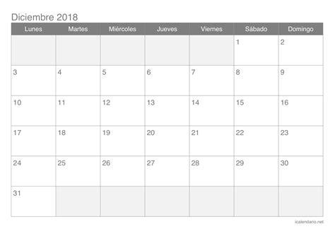 Calendario diciembre 2018 para imprimir   iCalendario.net