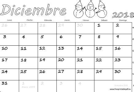 Calendario diciembre 2018 para imprimir | Imprimir el PDF ...