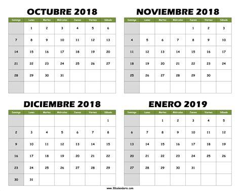 Calendario en blanco agosto septiembre octubre 2018 en ...