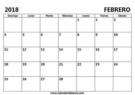 Calendario en Blanco Febrero 2018 | Descargar calendario ...