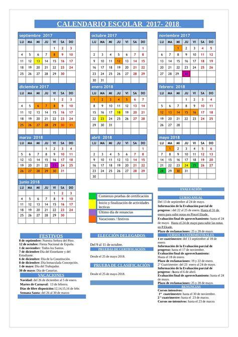 Calendario escolar 2017 2018 | EOI Las Palmas de Gran Canaria