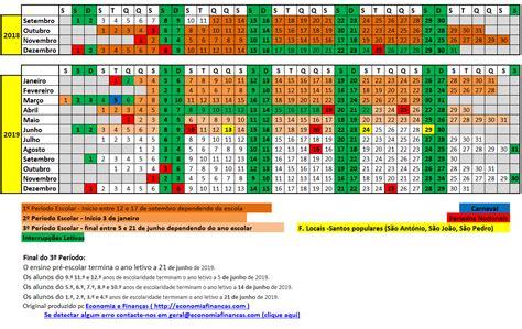 Calendário Escolar 2018 2019 em Excel | Calendário Escolar ...