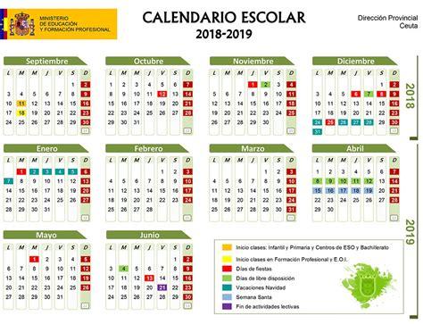Calendario escolar Ceuta 2018-2019: fechas de festivos en ...