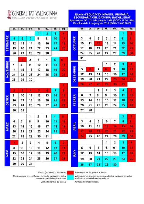 Calendario Escolar Comunidad Valenciana