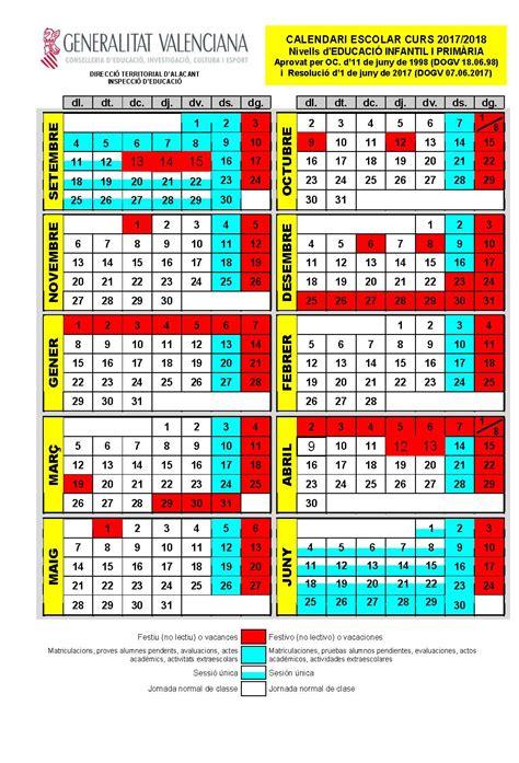 Calendario Escolar Curso 2017 / 2018   Ajuntament de Sant ...