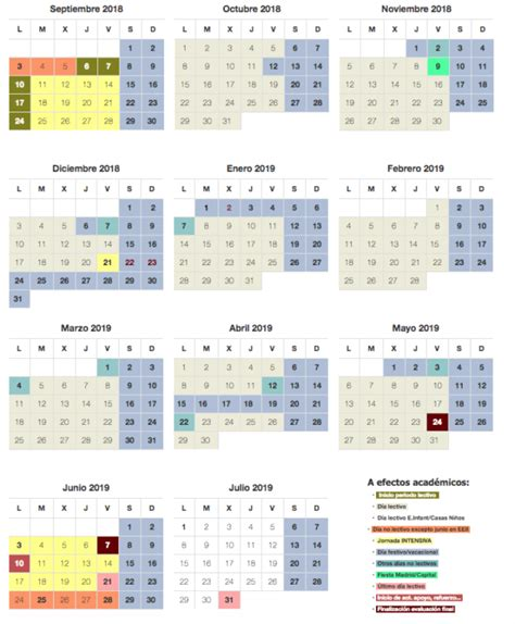 Calendario Escolar curso 2018-2019 En Madrid - CursosMasters