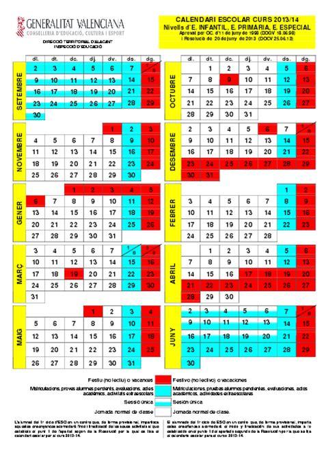 Calendario escolar Valencia 2013 2014   Vacaciones curso ...