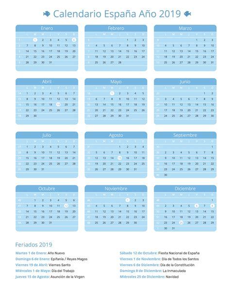 Calendario España Año 2019 | Feriados
