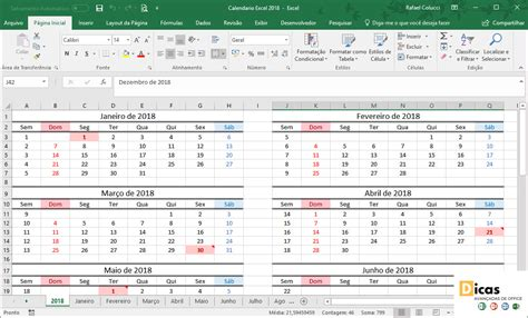 Calendario Excel 2018 – Uma forma simples de se organizar