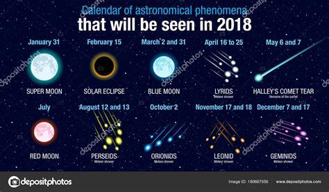 Calendario Fenómenos Astronómicos Que Verá 2018 Fondo ...