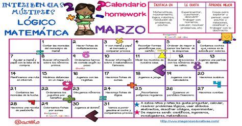 Calendario homework: INTELIGENCIAS MÚLTIPLES: MATEMÁTICA ...