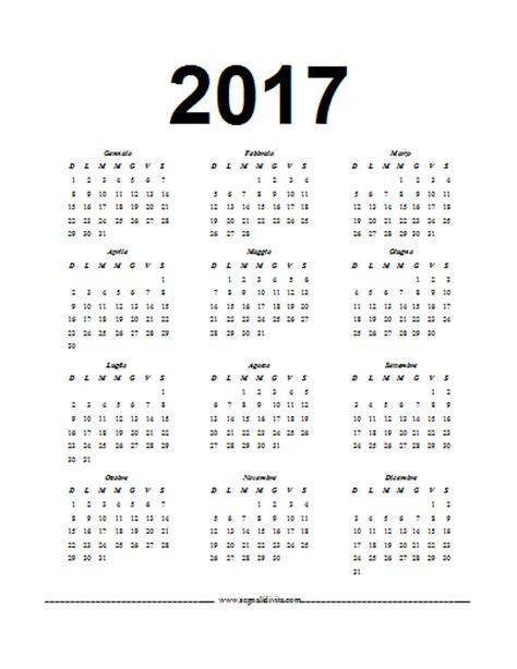 Calendario in formato Word del 2017