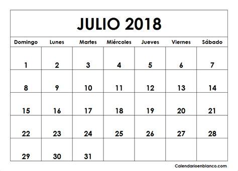 Calendario Julio 2018 Para imprimir   CALENDARIO ...