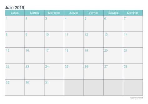 Calendario julio 2019 para imprimir   iCalendario.net