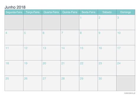 Calendário junho 2018 para imprimir   iCalendário.pt