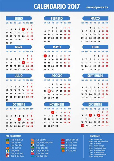 Calendario laboral 2017: Semana Santa, puentes y días festivos