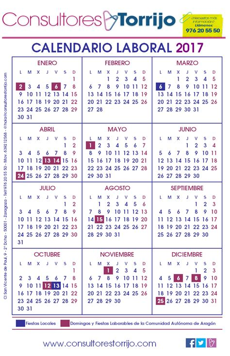 Calendario Laboral 2017 Zaragoza | 2018 Calendar Printable