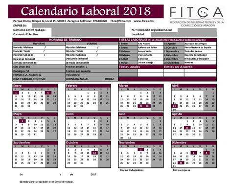 CALENDARIO LABORAL 2018 : Fitca
