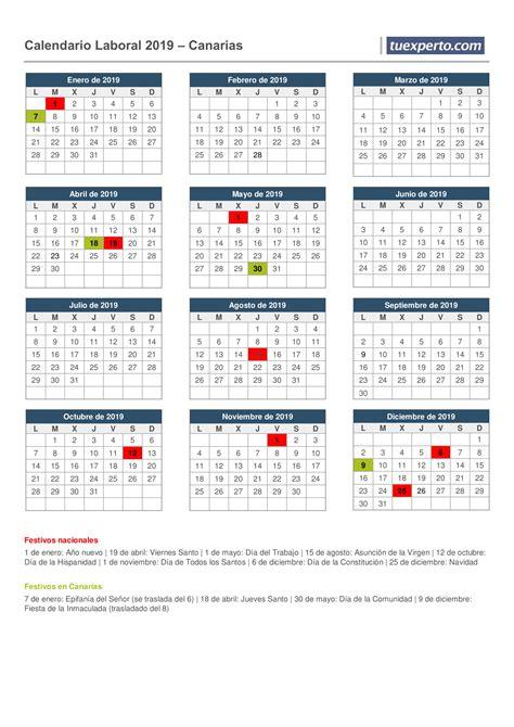 Calendario laboral 2019, calendarios con festivos por ...