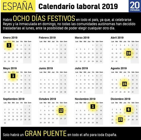Calendario laboral 2019: festivos, Navidad y Semana Santa
