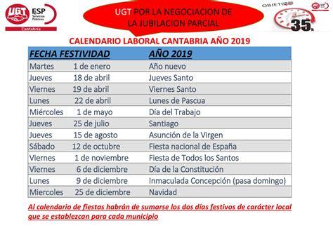 CALENDARIO LABORAL CANTABRIA AÑO 2019 | Sanidad en ...