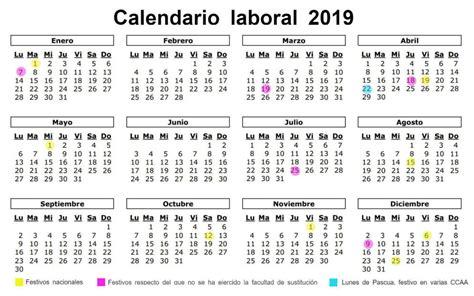 Calendario laboral de 2019: ocho festivos nacionales y ...