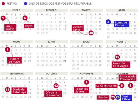 Calendario laboral del 2018 en Catalunya (con todos los ...
